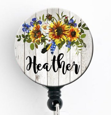 Retractable Badge Reel - Rustic Sunflower and Blue Bell - Personalized Name - Badge Holder / Nurse Gift / Teacher Gift / Stocking Stuffer - Personalized Badge Reels