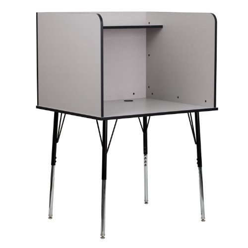 Flash Furniture Study Carrel with Adjustable Legs and Top Shelf in Nebula Grey Finish (Best Private Schools In Northern Virginia)