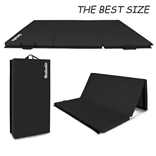 Matladin 6' Folding Tri-fold Gymnastics Gym Exercise Aerobics Mat, 6ft x 4ft x 2in PU Leather Tumbling Mats for Stretching Yoga Cheerleading Martial Arts (Black) ()