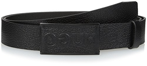 Leather Logo Plaque - HUGO by Hugo Boss Men's Glen Logo Plaque Leather Belt, Black, 40
