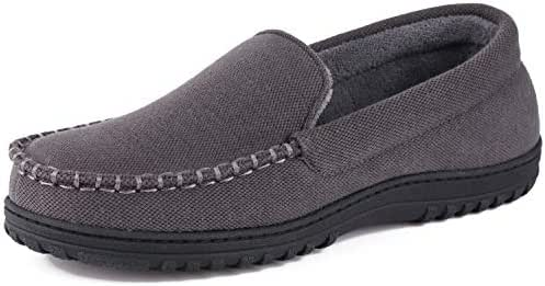 Men's Moccasin Slippers Anti-Slip House Shoes, Indoor Outdoor Rubber Sole Loafers