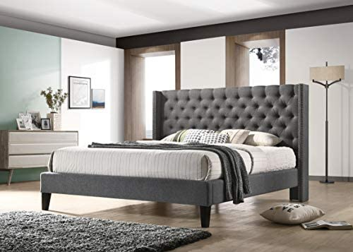 picture of ALTOZZO Pacifica Contemporary Bed, King, Gray
