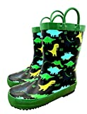 TQ Homebase Rubber Girls and Boys Rain Boots Dinosaur with Easy on Handles Little Kids Size 10 M