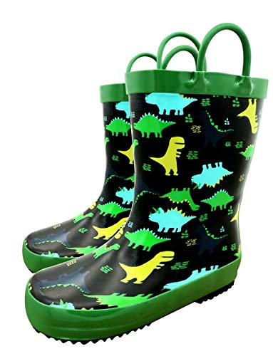 TQ Homebase Rubber Girls and Boys Rain Boots Dinosaur with Easy on Handles Toddlers Size 8 M ()