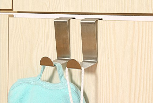 Floette 10 Packs Over the Door Hook Hanger Hanging Hooks, Stainless Steel, for Pocket Chart, Clothes, Towels, and General Organizers Door Hangers by Floette (Image #2)