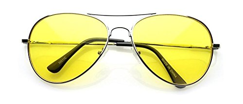 VW Eyewear - Colorful Silver Metal Aviator With Color Lens Sunglasses (Yellow lens)
