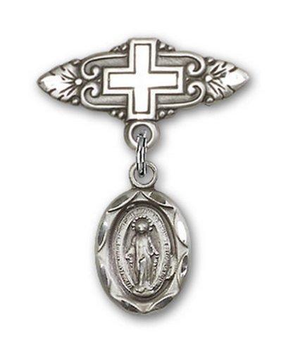 Icecarats Créatrice De Bijoux En Argent Sterling Broche Miraculeuse Badge De Charme Avec Une Croix X 3/4
