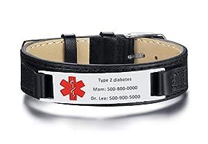 Personalized Genuine Leather Medical Alert Bracelets Waterproof Sport Emergency ID Bracelets for Men Women,Adjustable