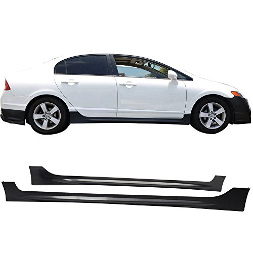 - Side Skirts Fits 2006-2011 HONDA CIVIC 4 DOOR SEDAN | PP Black Side Bottom Line Extension by IKON MOTORSPORTS | 2007 2008 2009 2010