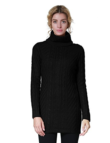 ninovino Women's Turtleneck Cable Knit Pullover Sweaters Black-M (Womens Cable Black)