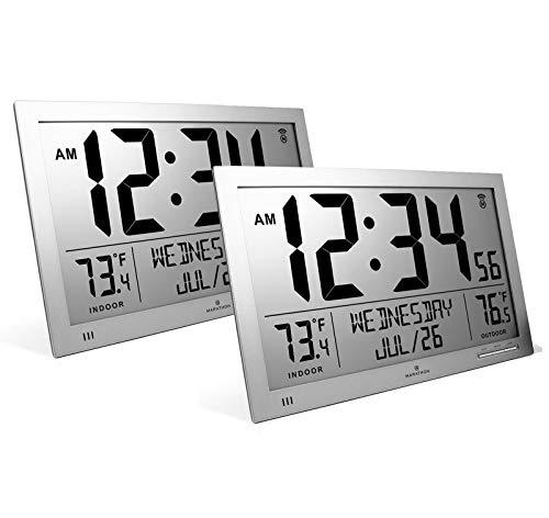 Marathon CL030066GG Slim Atomic Full Calendar Clock Bundle -