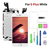 Screen Replacement for iPhone 6 Plus LCD Display & Touch Screen Digitizer Replacement with Frame Spare Parts Include Front Camera+Sensor Flex+Home Bottom+Earpiece Speaker+ Repair Tools (5.5'')