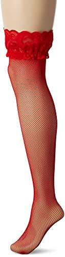 Seven Til Midnight Women's Plus-Size Fishnet Thigh High With Lace Top Stocking, Red, Queen Size (Red Fishnets)