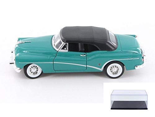 Welly Diecast Car & Display Case Package - 1953 Buick Skylark Closed Convertible, Turquoise Green 24027C/H/4D - 1/24 Scale Diecast Model Toy Car w/Display - 1953 Buick