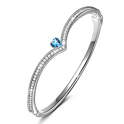 - Alex Perry Queen Crown Alloy Women Bangle Bracelet with Crystals from Swarovski Blue Heart Jewelry Gift for Women Girls with a Gift Box