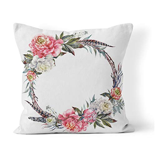Suklly Throw Pillow Cover Square 18x18 Inch Watercolor Floral Wreath Made of Peonies Leaves Pheasant Feathers and Twigs Cushion Home Sofa Decor Hidden Zipper Polyester Pillowcase - Feather Wreaths Pheasant