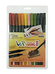 Uchida 1122-12F Le Plume II Double-Ended Markers with Brush and Fine Tips, Garden, Set of 12