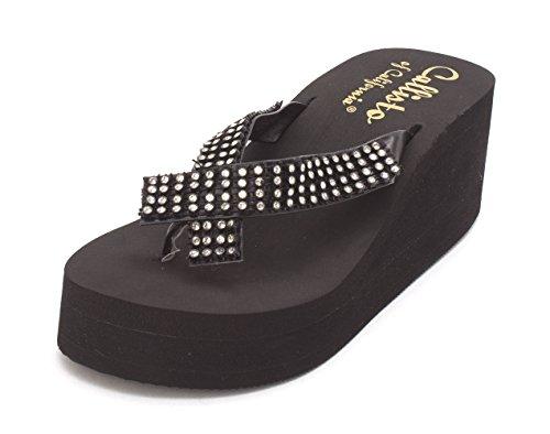 Casual Toe Open Black Sandals St Callisto Lucia Womens Platform IqwBx7XA