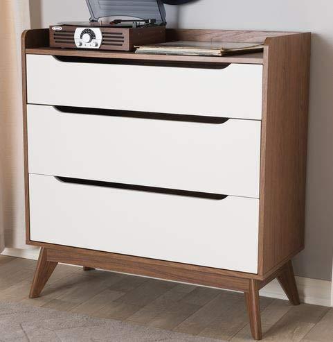 Amazon.com: Chester Drawers - Walnut White Wood Three ...