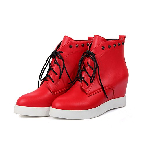 BalaMasa Imitated Ladies Leather Outdoor Boots Platform Solid Red qF6qBf