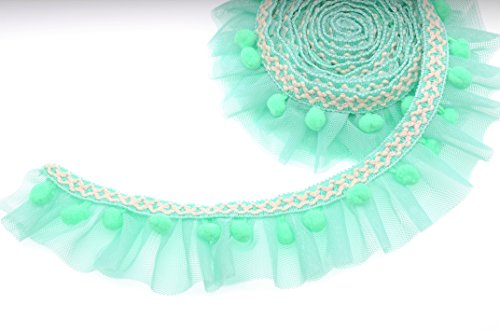 Marsha Q Double Layer Ruffled Lace Trim with Pom Pom Balls Trim Fringe Ribbon 5cm Wide 2 Yards for Garment Extender DIY Sewing Craft Children's Wear Pet Clothing Home Decoration (Mint Green)
