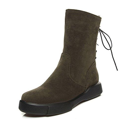 HSXZ Zapatos de mujer Cuero de Nubuck Fleece Otoño Invierno botas de nieve botas de moda botas Bota Punta redonda plana botines/botines botas Mid-Calf Green