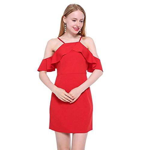 Été De Chinatera Épaule Froid Jabot Mini-femmes Robe Sexy Dos Nu Rouge Moulantes Vestidos