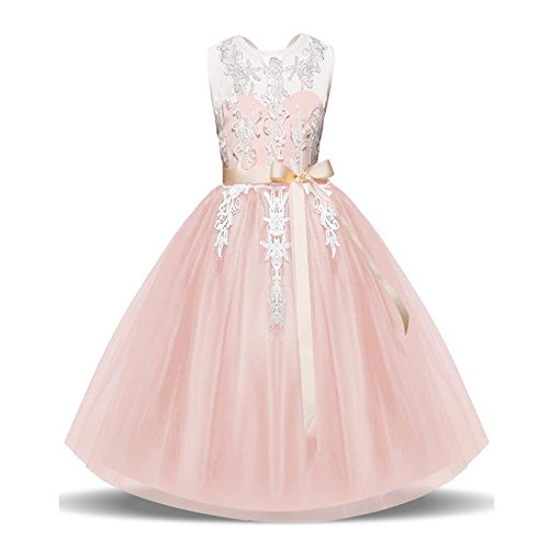 LYLIFE Glitters Sequined Bodice Double Layer Tulle Rhinestones Sash Flower Girl Dress