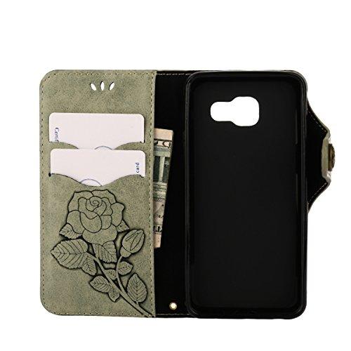 MEIRISHUN Leather Wallet Case Cover Carcasa Funda con Ranura de Tarjeta Cierre Magnético y función de soporte para Samsung Galaxy A5 (2016) - Verde Verde claro