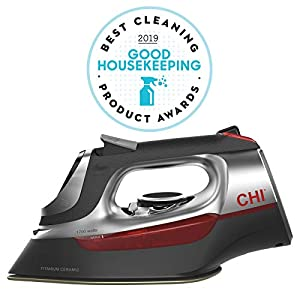 CHI Steam Iron for Clothes with Titanium Infused Ceramic Soleplate, 1700 Watts, Electronic Temperature Control, 8′ Retractable Cord, 3-Way Auto Shutoff, 400+ Holes, Professional Grade, Silver (13102)