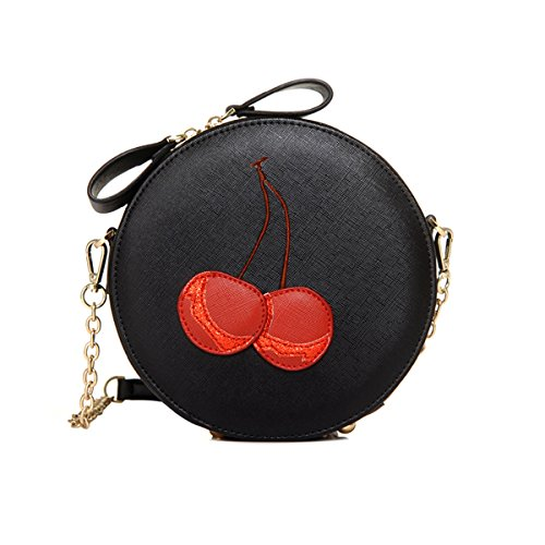 - HFmorning Stylish Cherry Print Women PU Leather Chain Shoulder bags Mini Round Purse Tote Bags