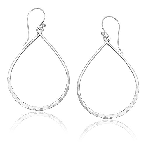 MIMI Sterling Silver Hammered Open Teardrop Hoop -