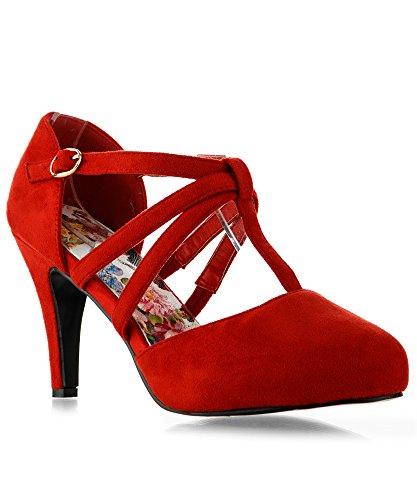 RF ROOM OF FASHION Coco-22 Women's Vegan D'Orsay Mary Jane T-Strap Mid Heel Dress Platform Pumps Shoes Red (8) (Dress Platform)