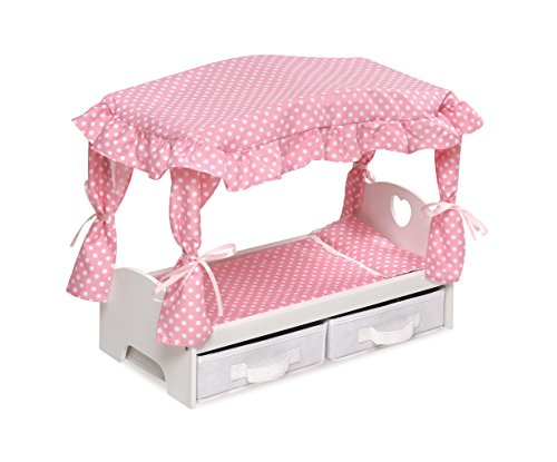 Canopy Doll Bed with Two Storage Baskets - fits American Gir