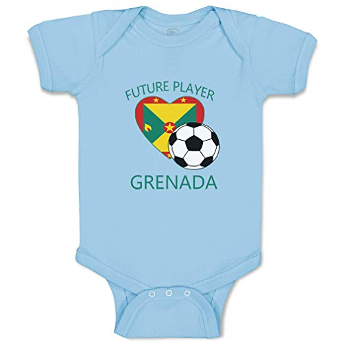 Custom Boy & Girl Baby Bodysuit Future Soccer Player Grenada Funny Cotton Baby Clothes Light Blue Design Only 6 Months