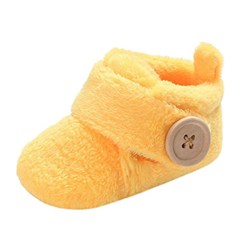 Witspace Newborn Infant Baby Boys Girls Winter Warming Booties Toddler Kids Soft Sole Prewalker Shoes (0-6 Months, Yellow)