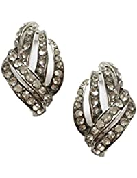 Silver Tone Art Deco Antique Vintage Retro Style Rhinestone Clip-On Earrings