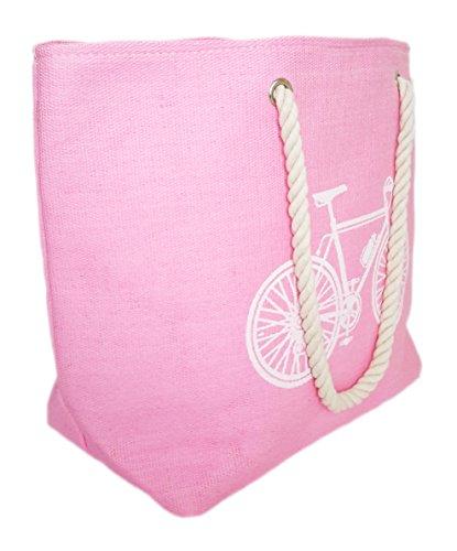 Grandes Colores Playa Bolsos XXL Rosa Mujer o con Varios de en Bicicleta Piscina de Estilo Para Cremallera BRANDELIA Playa Verano Vintage 7HxttF