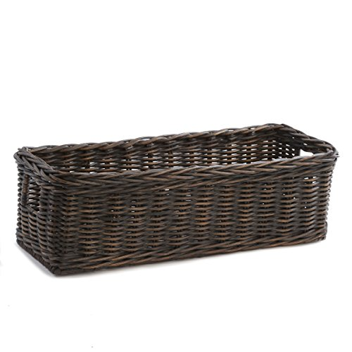 The Basket Lady Long Low Wicker Basket, Small, Antique Walnut Brown (Baskets Wicker Antique)