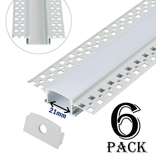 Plaster-in LED Aluminum Channel 6-Pack 3.3ft/1m with Flange for LED Strip, Drywall Aluminum Profile with Clip-in Diffuser and End Caps