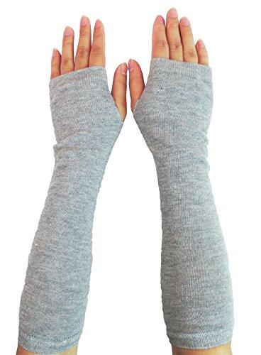 Women Stretchy Long Sleeve Fingerless Gloves (Knitted-Gray)