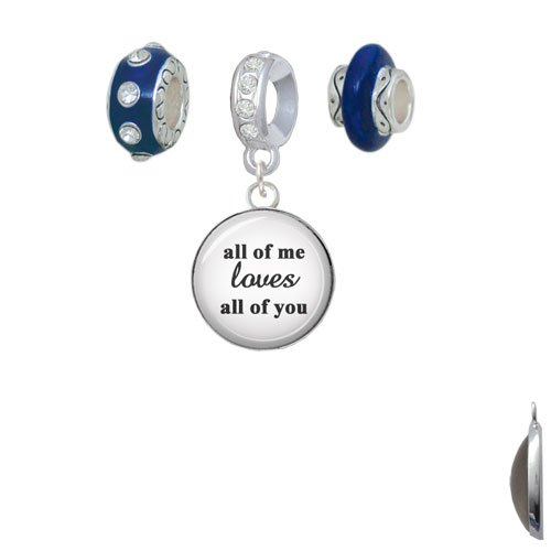 Silvertone Domed All of Me Loves All of You Navy Charm Beads (Set of 3) by Delight Beads (Image #2)