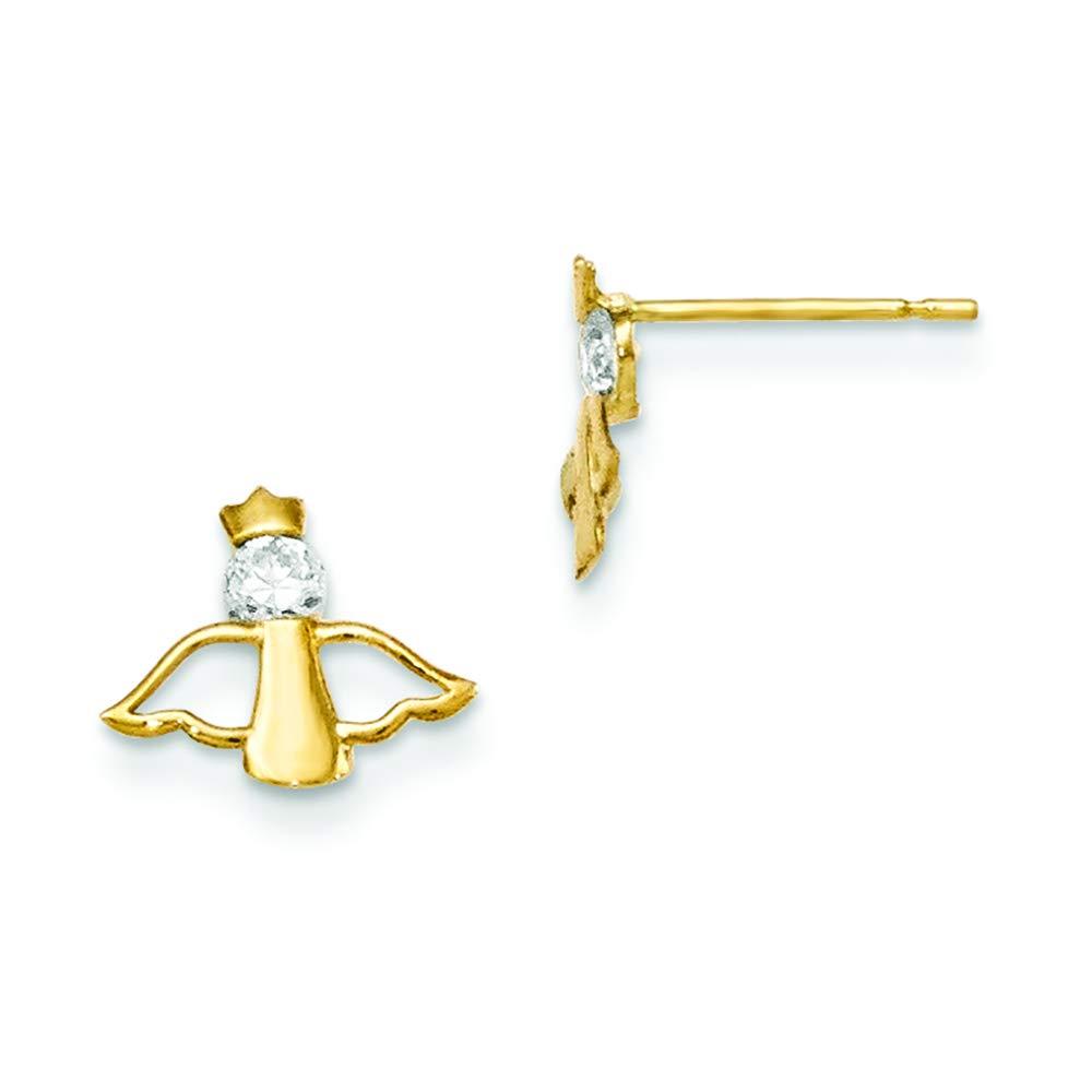 14K Yellow Gold Madi K Childrens 10 MM CZ Angel Post Stud Earrings