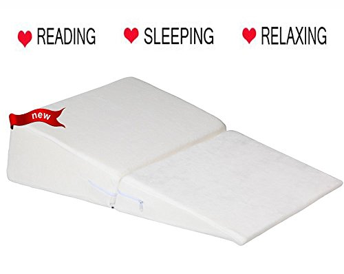 Ang Qi Bed Wedge Pillow with Supportive Foam - Folding - Best for Sleeping, Reading, Rest or Elevation - Breathable and Washable Velvet Cover