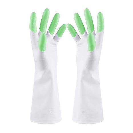 AOLVO - Guantes de látex para lavavajillas, Goma Impermeable, Reutilizables, Finos, con