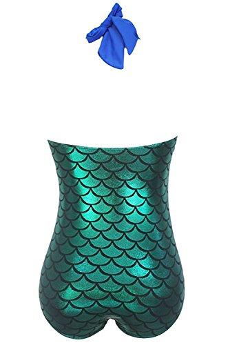 5ea192f1f6bd8 KDHJJOLY Soft Women s Blue Bralette Splice Metallic Mermaid One Piece  Swimwear XL Hot