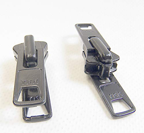 YKK Zipper Pull Tab Sliders Boat Canvas #10 Vislon Double Metal Pull Tab Zipper Sliders, 2 Piece Set - Black ()