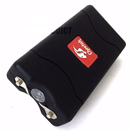 Cheetah BLACK 60MV Rechargeable Police LED Stun Gun Self Defense + Case Size 4