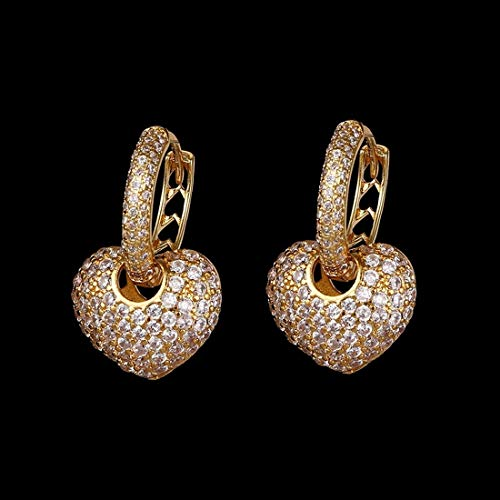 Luxury Heart Shape Earrings Pave Setting with Cubic Zirconia Gold Silver Color Rectangle Rhinestone CZ Lightweight Beautiful Fashion Jewelry for Women Girls Party (Gold) ()