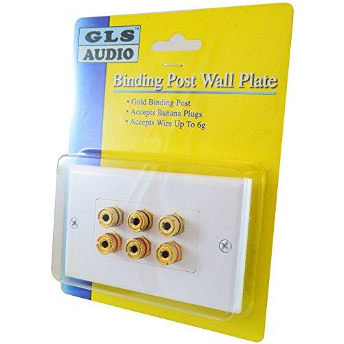 GLS Audio 6 Post Binding Banana Plug Wall Plate White (6 Posts for 3 Speakers)